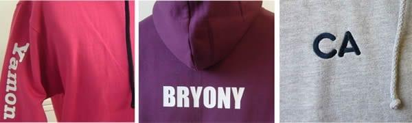 personalisation names on leavers hoodies