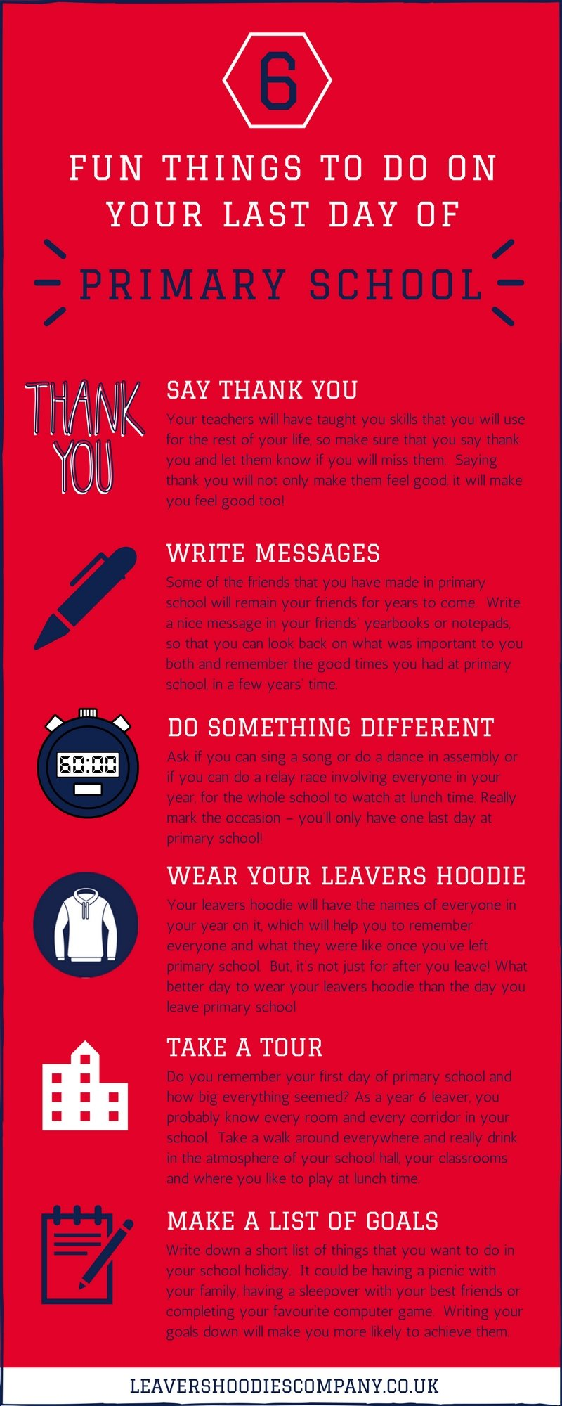 6 things to do last day primary school infographic