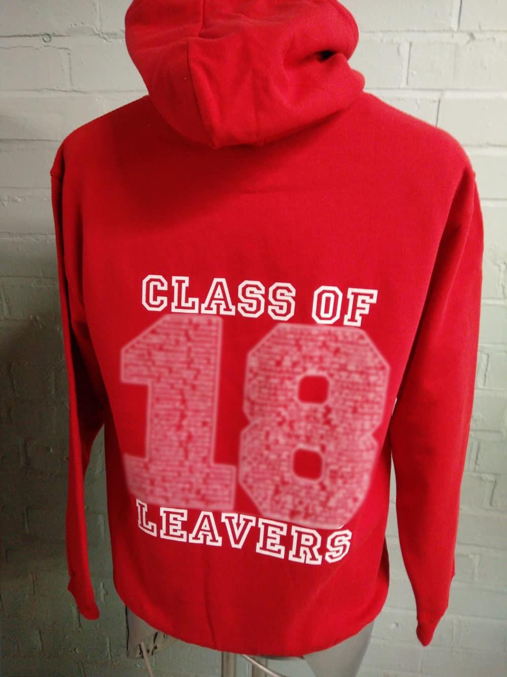 Red Class of 2018 Leavers Hoodies