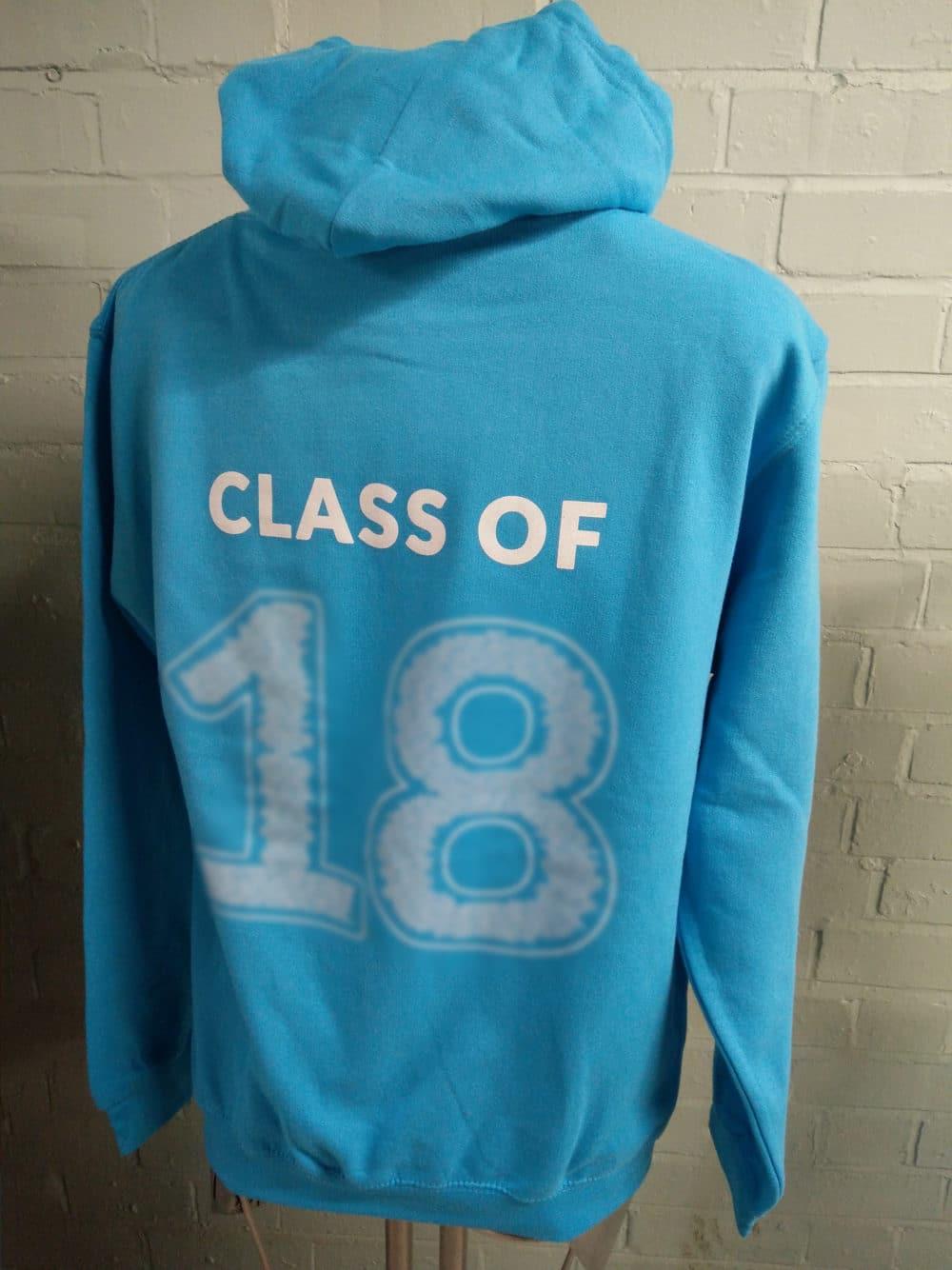 Light Blue Leavers Hoodies Class of 2018