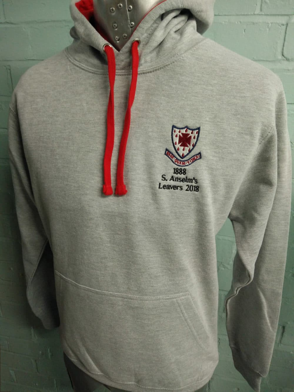 Grey Marl Red Duo Leavers Hoodies Class of 2018