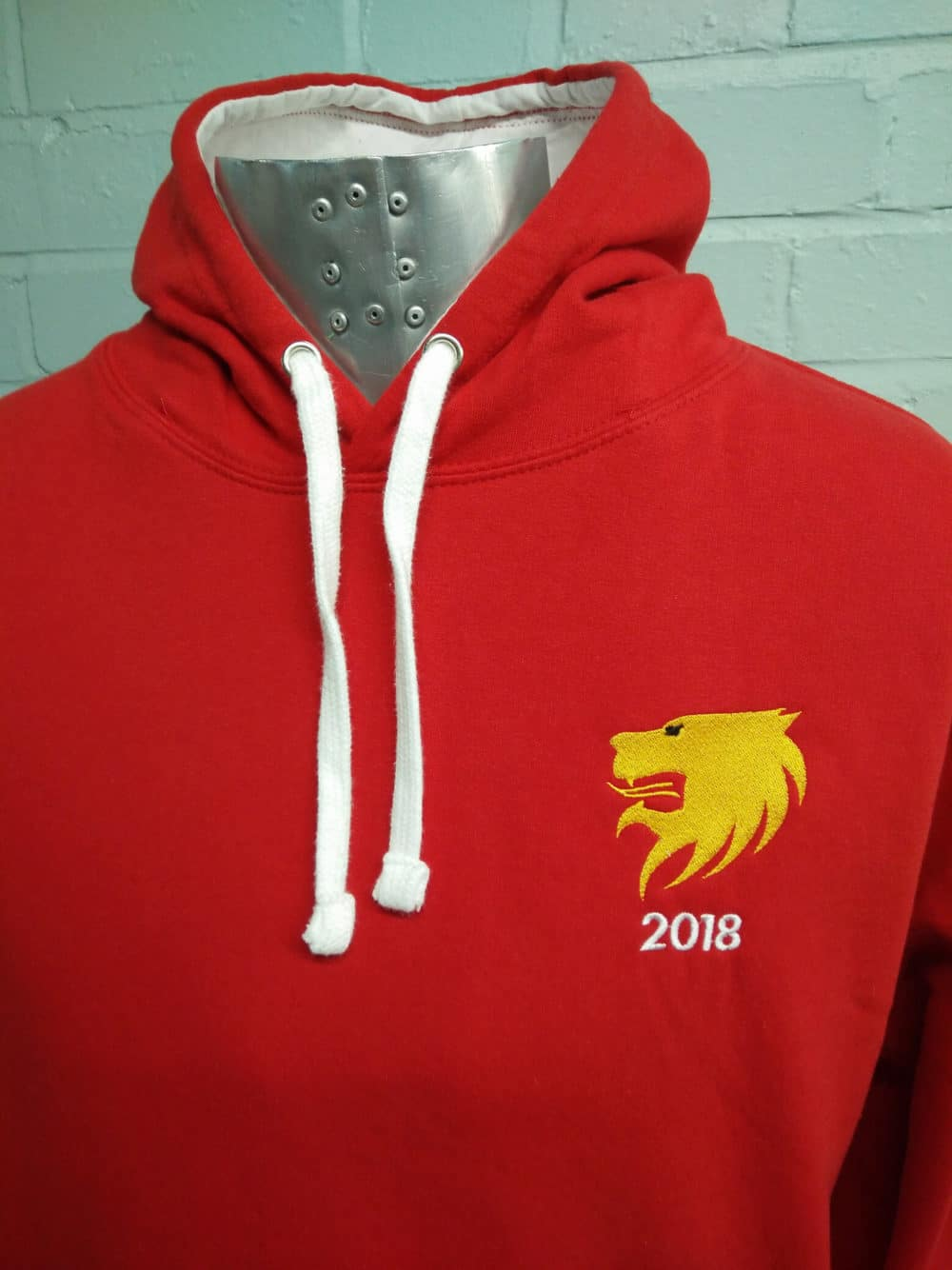 Printed Duo Red & White Leavers Hoodies Class of 2018 Yellow Logo 1