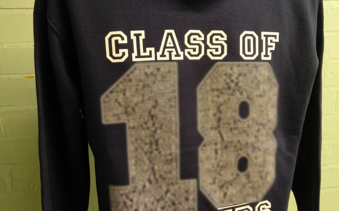 Swallowdale Class of 2018 Navy with White Print Leavers Hoodies 1