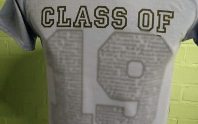 Ashby Leavers T Shirts Grey with Black Print