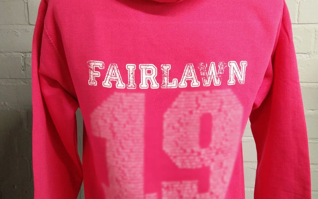 Fairlawn Distressed Print Leavers Hoodies 2019 in Pink Custom