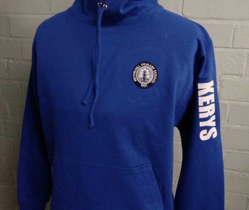 Blue hoodle with school logo embroidered