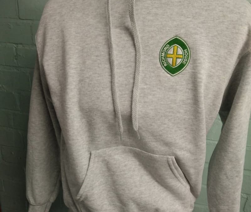 Grey Hoodie with green embroidery