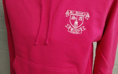 Pink Leavers Hoodies with school crest and year print